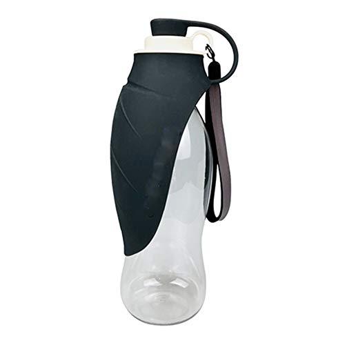 HUAQIGUO 580ml Botella de agua portátil para perros de mascotas Diseño de hoja de silicona suave Tazón de perro para cachorro gato beber al aire libre Pet Water Dispenseret Producto (negro)