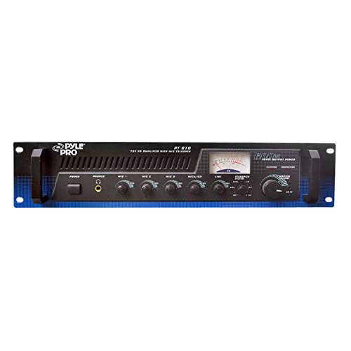 Pyle PT610 600 Watt 5-Channel 19-Inch Rack Mount Power Amplifier Mixer System with 70V Output and Mic Talkover, Black (2 Pack)
