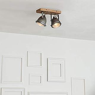 Qazqa Spot au Plafond | Éclairage de plafond Industriel - Emado Lampe Gris Marron - GU10 - Convient pour LED - 2 x 25 Watt