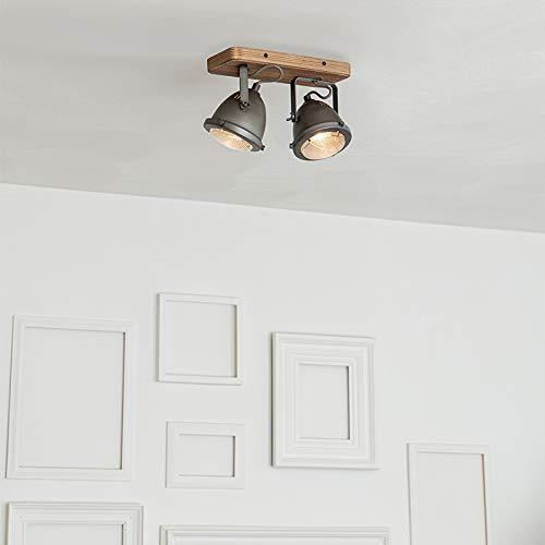 QAZQA Plafón industrial acero madera orientable 2-luces - EMADO/Acero Alargada Adecuado para LED Max. 2 x 25 Watt