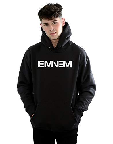 Eminem Herren Plain Text Kapuzenpullover Schwarz Medium