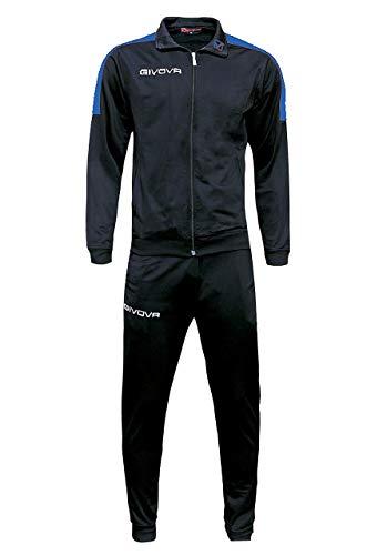 Marchio Givova - Modello Tuta Revolution- Completo di Giacca con Zip Manica Lunga e Pantalone/Home Shop Italia (Nero/Azzurro, M)