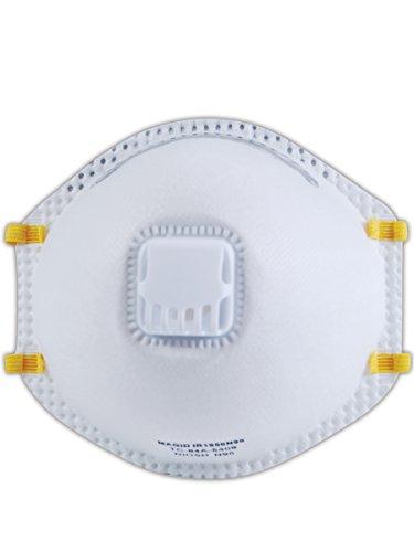 Magid Safety IR1950N95 Disposable Respirators   N95 Disposable Respirators with Adjustable Nosepiece & Exhalation Valve - NIOSH-N95 42CFR84 Approved, Medium/Large, White (10 Respirators)