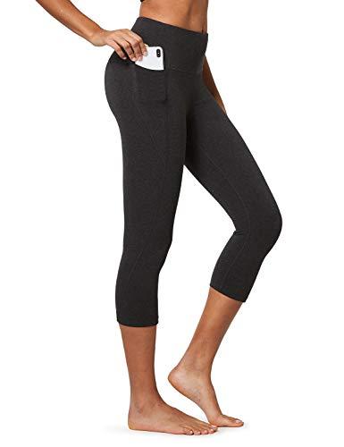 BALEAF Women's High Waisted Yoga Capris w Side Pockets Cropped Leggings Workout Capris Pants Charcoal M
