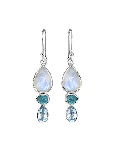 YoTreasure 1.85' Rainbow Moonstone Neon Apatite Blue Topaz Solid 925 Sterling Silver Gemstone Dangle Earrings Jewelry For Women or Girls
