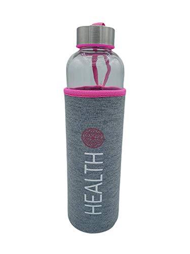 Botella Agua Cristal Con funda neopreno 600 ml Rosa Sin BPA Motivacional para Deporte Gimnasio Reutilizable y Térmica   Cantimplora deportiva niño Gym vidrio acero inoxidable