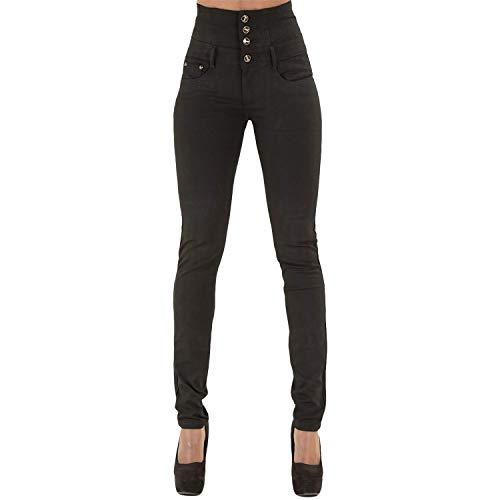 LAEMILIA Pantalons Femme Denim Printemps Jeans Slim Taille Haute Leggings Sexy Collant Crayon Déchirés (FR38=Tag M, Noir)