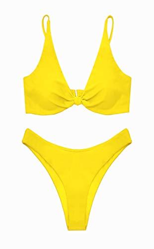 SHEKINI Damen Triangel Zweiteilige Strandkleidung Bikini-Set Streifen Einfarbig Bikinimode High Waist Hose Push Up Schwarz Schleife Oberteil Bikini (M, Zitronengelb)