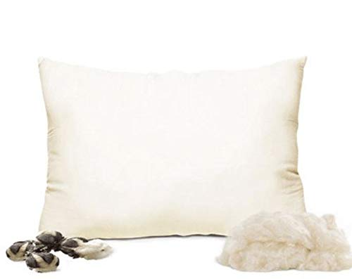 Natural Kapok Filled Pillow (Standard Size, Medium Fill) with 100% Organic Cotton Cover Protector, Soft Silky Feel, Adjustable Loft for Desired Height, Zippered Removable Cover, Machine Washable