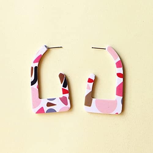 Pendientes De Plata Para Mujeres, Pendientes De Aro Abstractos De Graffiti Con Forma De C Acrílico De Ácido Acético Irregular Geométrico De Color Rosa Para Joyería De Mujer Regalo De Cumpleaños