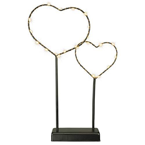 Deko-Leuchte Herzen – Lampe zur Dekoration auf Tisch Kommode – Metallgestell schwarz Silberdraht Sockel 25 LED warm-weiß 36 cm hoch Batterie
