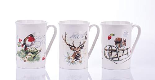 Juego de 3 tazas de porcelana para regalo de té o café, con caja de regalo (ardilla de Navidad)