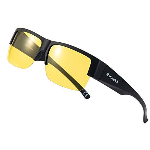 HORUS X - Gafas / Sobre gafas para conducir de noche Hombre y Mujer - Cristales Antirreflejos - Gafas Anti deslumbramiento - Seguridad al volante - Cansancio Ocular