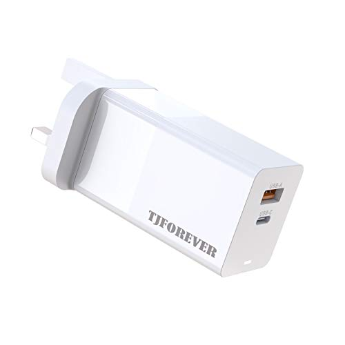 TJFOREVER USB C 65W GaN Charger compatible with Macbook pro/air Ipad pro/air Huawei Matebook Chromebook Hp Dell Lenovo Asus Acer Laptop Iphone Galaxy Smartphone USB-C PD3.0 PPS USB-A QC3.0