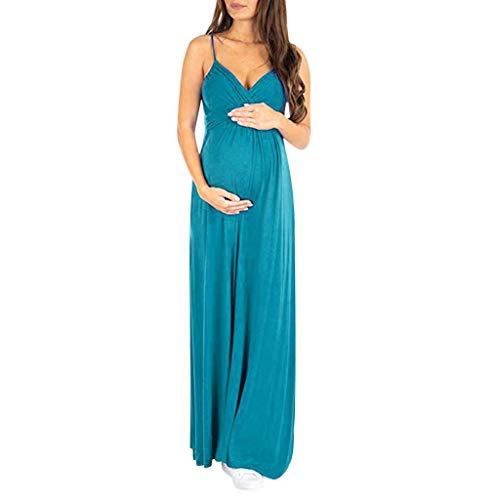 Vestidos Premama Fiesta Boda,Gusspower Ropa Embarazada Cuello V Mixi Vestidos Maternidad Moda Estampado Floral Vestido De Tirantes Sin Manga Elegante Vestido De Lactancia Faldas Largas Verano