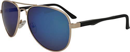 SQUAD Gafas de sol hombre y mujer polarizadas Piloto 100% protección UV400 Doble puente lentes de azul espejo
