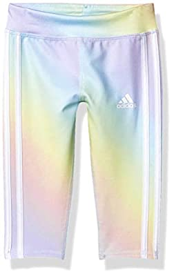 adidas Girls' Big Active Sports Athletic 7/8 Length Legging Tight, Iridescence Print Blue, Medium