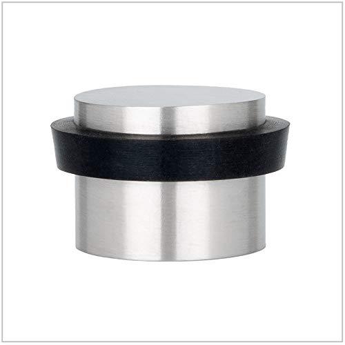 EVI Herrajes 040163AM Tope De Puerta Adhesivo, Acabado, Inox Mate - Goma Negra, 28x20mm