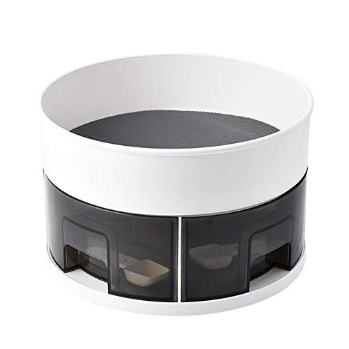 Organizador de especias de 2 niveles, mesa giratoria de metal Lazy Susan, soporte de condimentos giratorio de 360 ° para tarros de especias,organizador de armario de cocina