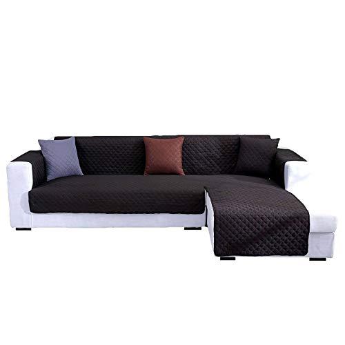 HALOUK Funda de Sofá en Forma de L Reversible,Funda para Sofá de Chaise Longue Impermeable Acolchado Suave Protector de Muebles para Perro Gato-Negro-Chaise 240×270cm