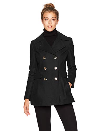 Calvin Klein Women's Polished Wool Coat with Button Detail, black, X-Small