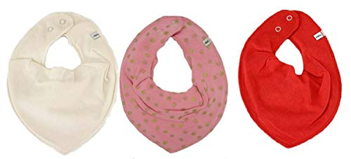 Pippi Lot de 3 bandanas triangulaires pour bébé (crème à pois, rose et rouge)