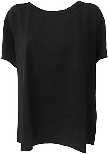 ASPESI T-Shirt Donna Over Manica Corta Modello Z321 100% Cotone Made in Italy (M - IT 44, Nero)