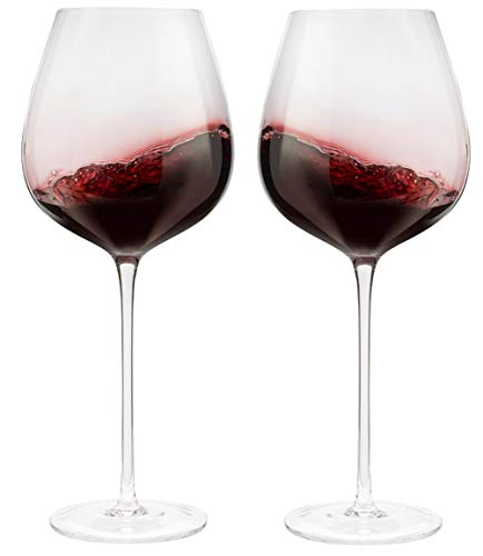 Wine Glasses, Set of 2, 27 oz, Hand Blown. Lead-Free Crystal - Modern, Elegant Glassware set for Red Wine with Large Bowl, Long Stem - Stylish Drinkware Glass Set - Premium Wine Gifts