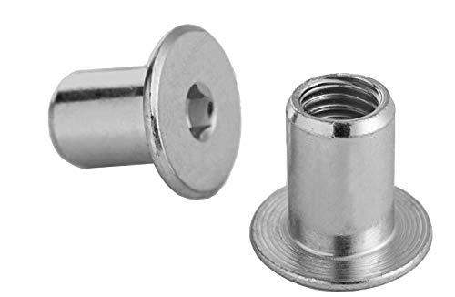 RONFAR Hülsenmutter mit Flachkopf-Innensechskant M6 x 15 x 12 mm 100 Stück
