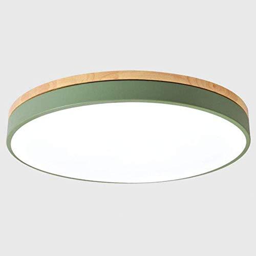 Lámpara de techo verde metal y madera, LED regulable con control de barra, 36 W, diseño redondo, iluminación de techo, dormitorio, galería, baño, pasillo, baño, balcón, 50 cm de diámetro.