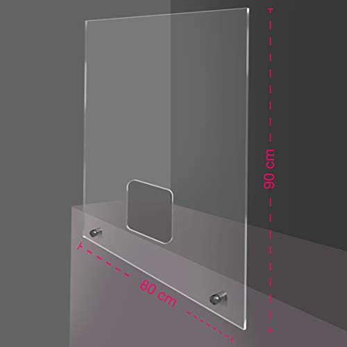 Generico Parafiato/parasputi da banco PPD - Parete divisoria per la Sicurezza in plexiglass Trasparente Fissaggio al bancone con Viti (80x90cm)