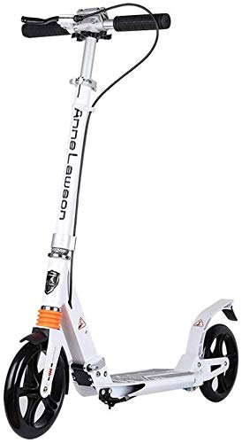 Great Deal! lqgpsx Big Wheels Adult Kick Scooter with Hand Brake, Dual Suspension Folding Commuter S...