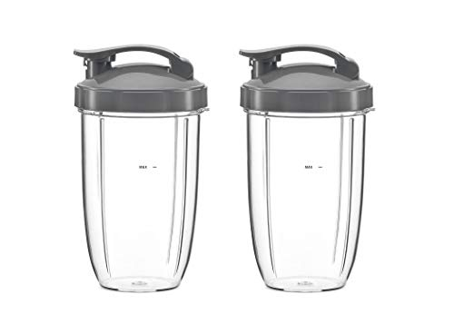 Poweka 24oz Tall Cups Replacement for Compatible with Nutribullet Accessory Kit with Flip Top to-Go Lid for Compatible with NutriBullet 600W/900W Blender Juicer Spare Parts