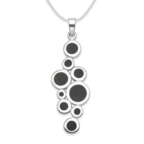 Heather Needham Sterling Zilver Zwart Onyx Ketting met 9 stenen op 41cm (16