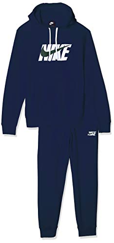 Nike M NSW CE TRK Suit HD FLC Gx Warm Up, Herren, Midnight Navy