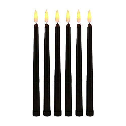 Mogzank Confezione da 6 Candele di Compleanno un LED Nere, Candele di Halloween un LED con Sfarfallio Giallo Senza Fiamma