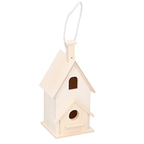 Megaprom Mini Vogelhaus zum Hängen, Nistkasten, Vogelhäuschen, Nisthaus, Vogelfutterstation, Nisthöhle, Vogelnest aus Naturholz