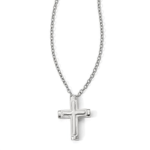 Petra Azar Sterling Silver Polished Magnetic Cross 22 inch Necklace