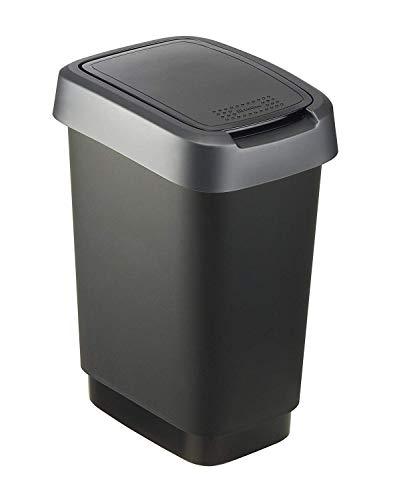 Rotho Twist Mülleimer 10l mit Deckel, Kunststoff (PP) BPA-frei, schwarz/silber, 10l (24,8 x 18,1 x 33,0 cm)