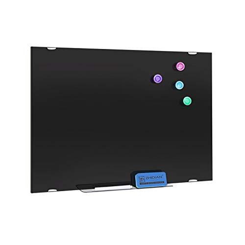 ZHIDIAN Pizarra magnética de cristal negra, 90 x 60 cm, pizarra blanca de borrado en seco sin marco para pared, hogar, oficina, 2 marcadores, 1 borrador, 1 bandeja para bolígrafos