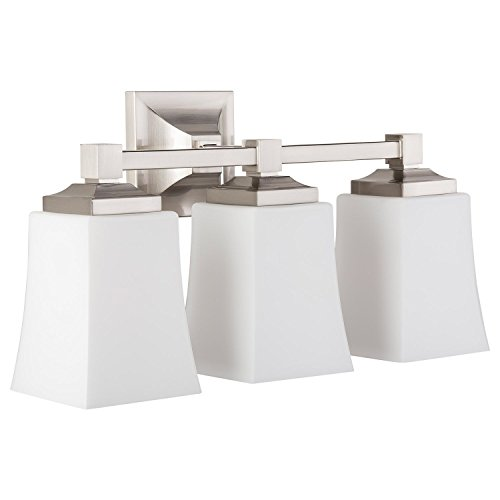 Brighton 3 Light Bathroom Vanity Brushed Nickel w/Frosted Glass Linea di Liara LL-WL240-3-BN