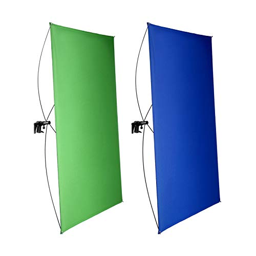 Neewer 90x180cm Pantalla de Fondo Azul/Verde Chromakey 2 en 1 Portátil con 4 Varillas Flexibles Soporte Bolsa Transporte para Transmisión en Vivo Estudio y Videos TikTok Youtube(Soporte No Inc