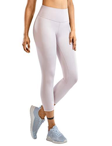 CRZ YOGA Mujer Compresión Mallas Largos Pantalones Deportivos Cintura Alta con Bolsillo-53cm Cromo Oscuro 36