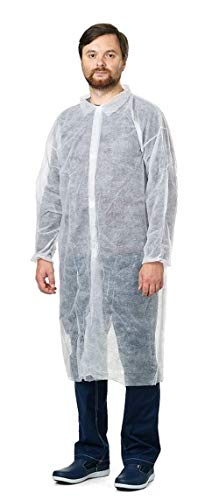 Pack of 10 White Lab Coats. Unisex Disposable Polypropylene Labcoat. X-Large Size. Hook and Loop Fastener, Collar, Elastic Wrists, No Pockets. Protective Visitor Coat. Coated Laboratory Coats.