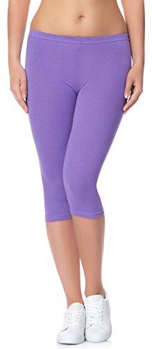 Ladeheid Damen Leggings aus Baumwolle 3/4 LAMA01 (Violett27, L/XL)