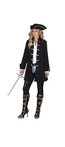 shoperama Damen Gehrock de Luxe Mantel für Piratin Schwarz/Gold Jacke Freibeuterin, Größe:50