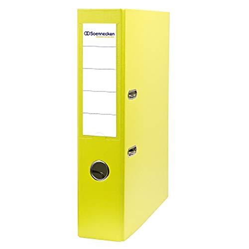 Soennecken Ordner für: DIN A4, 2 Bügel, Rückenbreite: 70 mm, Polypropylen, gelb, Griffloch, Sichttasche am Rücken