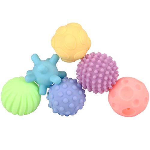 Rrunzfon 6pcs Juguetes Balón con La Mano Colorida De La Lámpara Niño Infantil Sensoriales Bolas De Silicona Suave Masaje Bola Bebé Bola Multi Textura