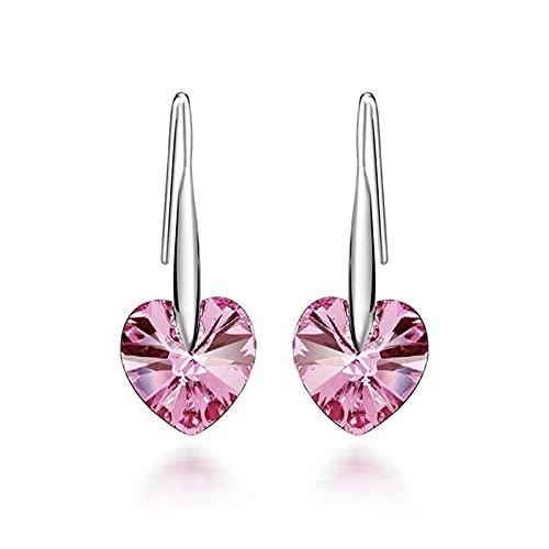 PPuujia Pendientes con forma de corazón de cristal para mujer, para novia, boda, compromiso, joyería de regalo (color metálico: rosa)