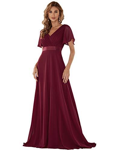 Ever-Pretty Damen Abendkleid Brautjungfer A-Linie V Ausschnitt lang Burgundy 40